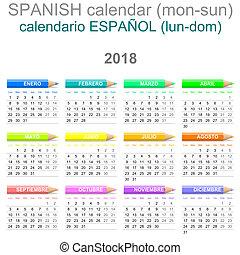 クレヨン, バージョン, 2018, カレンダー, スペイン語