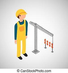 クレーン, 建築作業員, 障壁, 下に