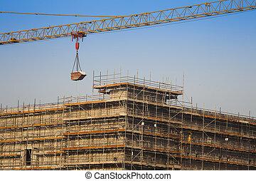 クレーン, 建設, cargo., 産業, 持ち上がること