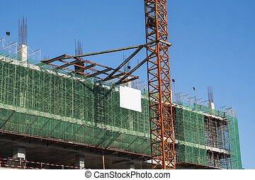 クレーン, 金属タワー, 貯蔵, 建物。, 使用, 建設, sky., サイト, に対して, 青い建物, construction., 未完成, multi