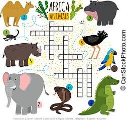 クロスワードパズル, 動物, サファリ, アフリカ