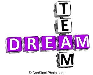 クロスワードパズル, 3d, 夢, チーム