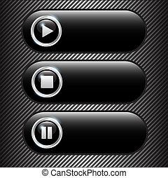 クロム, 暗い, ベクトル, ボタン