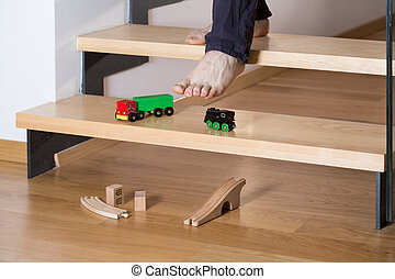クローズアップ, の, おもちゃ, 上に, 階段