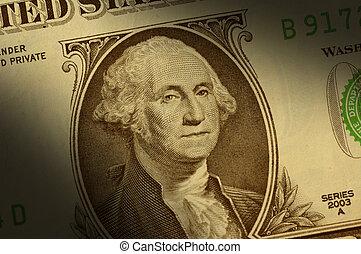 クローズアップ, の, ジョージ・ワシントン, 上に, a, 1枚の1ドル札