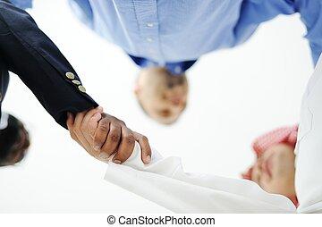 クローズアップ, の, ビジネス 人々, 揺れている手, 上に, a, 取引