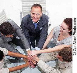 クローズアップ, の, 多民族, ビジネス チーム, ∥で∥, 一緒の 手
