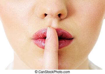 クローズアップ, の, 女性手, 索引 指, 上に, 彼女, 口, ジェスチャーで表現する, 沈黙