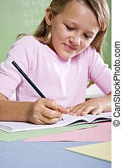 クローズアップ, の, 学校の 女の子, 執筆, 中に, ノート