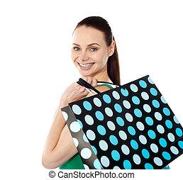 クローズアップ, の, 幸せ, 買い物, 女の子, 保有物, 袋