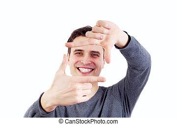 クローズアップ, の, a, 幸せ, 若者, カメラを見る