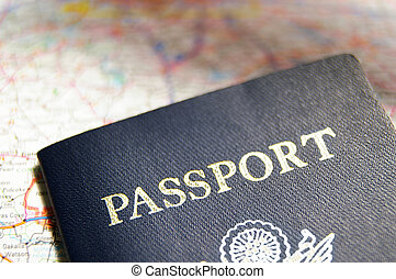 クローズアップ, の, a, 私達, パスポート, 上に, a, 地図