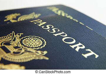 クローズアップ, もし, アメリカ人, パスポート, 上に, ライト, 背景