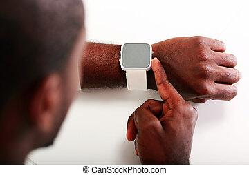 クローズアップ, イメージ, 腕時計, 指すこと, 人