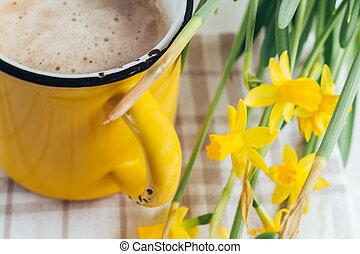 クローズアップ, コーヒー, 春, カップ, ラッパズイセン, 花, カプチーノ
