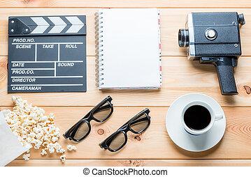 クローズアップ, セット, 背景, 木製である, 産業, オブジェクト, の上, フィルム, 光景