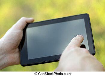 クローズアップ, タブレット, イメージ, 感動的である, pc., 保有物