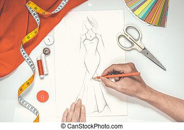 クローズアップ, デザイナー, ファッション, スケッチ, 図画