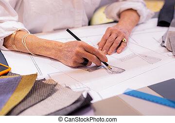 クローズアップ, デザイナー, 写真, 机, 年配, 先導, 作成, 図画