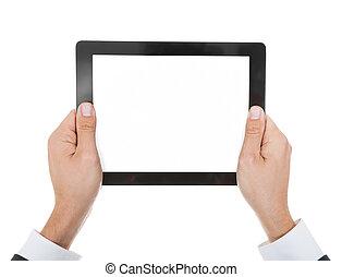 クローズアップ, デジタル, 保有物, タブレット, 手