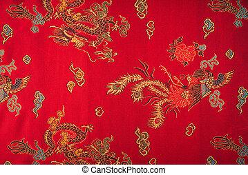 クローズアップ, フィルターされた, (, イメージ, effect., 処理される, 絹のようである, ), 赤, 中国語, 型, 生地