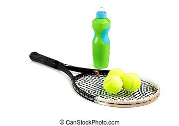 クローズアップ, ボール, びん, テニス, 水, ラケット, 背景, 白