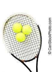 クローズアップ, ボール, テニス, 背景, ラケット, 白