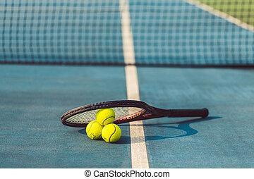 クローズアップ, ボール, テニス, 高い角, 3, 専門家, 棚