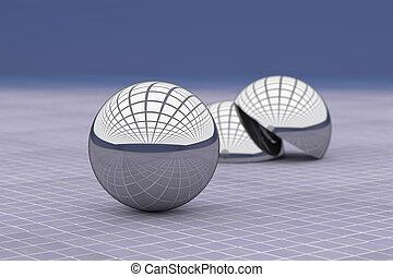 クローズアップ, ボール, 金属, 天井, ガラス, 反映