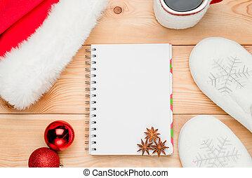 クローズアップ, ボール, santa, 春, 帽子, メモ用紙, の上, クリスマス, 光景