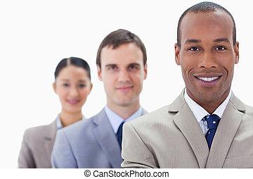 クローズアップ, 人々, 大きい, フォーカス, スーツ, 単一, 服を着せられる, 微笑, 最初に, 線, 人