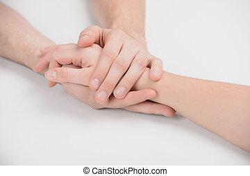 クローズアップ, 人々, 手。, 助力, 手を持つ