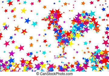 クローズアップ, 作られた, カラフルである, シンボル, バックグラウンド。, 星, 2017, おんどり, 白