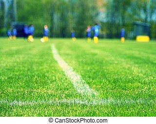 クローズアップ, 光景, 細部, ライン, 交差点, 白, フットボール, playground.