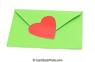 クローズアップ, 心, ペーパー, 緑, 封筒, 赤
