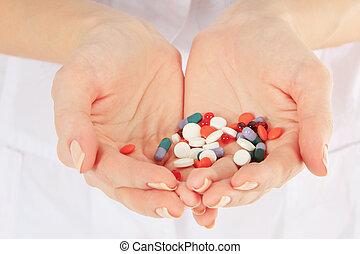 クローズアップ, 手, 丸薬, 保有物, 医者