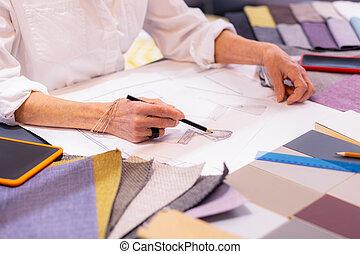 クローズアップ, 打撃, 女性実業家, 年配, プロジェクト, 優雅である, 作成, 図画