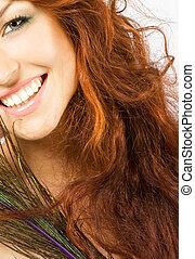 クローズアップ, 新たに, 明るい, 女性, ∥で∥, 長い間, 赤い髪