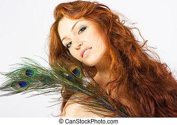 クローズアップ, 新たに, 明るい, 女性, ∥で∥, 長い髪
