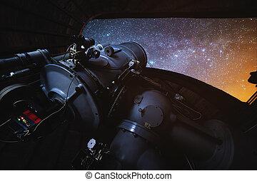 クローズアップ, 望遠鏡, 写真, 天文, 夜, ドーム, 長い間, way., 星, 乳白色, observatory., 開いた, さらされること