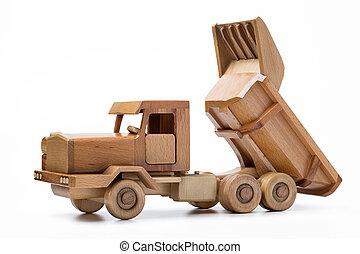 クローズアップ, 木車, 隔離された, バックグラウンド。, 白