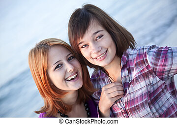 クローズアップ, 浜, 幸せ, 肖像画, 女の子, 2