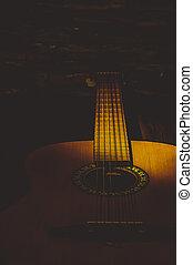 クローズアップ, 照らされた, ギター, 梁, light., 音響, 暗い