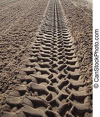 クローズアップ, 砂, トラック, 印