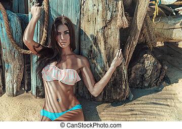 クローズアップ, 肖像画, の, a, 若い, ブルネット, 女, 上に, ∥, 熱帯 浜