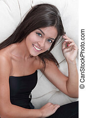 クローズアップ, 肖像画, の, a, 魅了, 若い女性