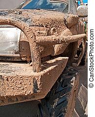 クローズアップ, 自動車, 泥だらけである, オフロード