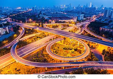 クローズアップ, 跨線橋, 合流点, 夜