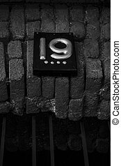 クローズアップ, 通り, 古い, 住所, 数, tbilisi, 建築, 19