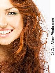 クローズアップ, 長い髪, 明るい, 新たに, 女性, 赤